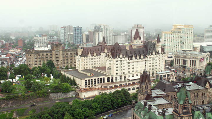 View of Ottawa in Ontario, Canada from the Peace Tower of the Parliament buildings